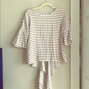White blouse with mauve stripes